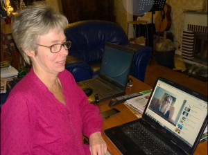 Jag  Elsa lyssan på Anna Åbergs webinar Noffice